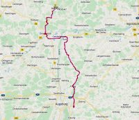 De route van Friedberg naar Monheim.