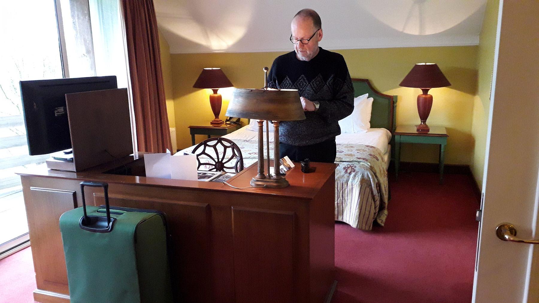 Bij aankomst in onze hotelkamer...
