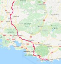 De route naar de Middellandse Zee.