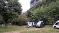 Op de camping in Baumes-les-Messieurs.