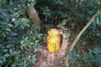 Een tamelijk opzichtige geocache, verstopt in een bossage...