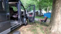 Op de camping in Vals-les-Bains.