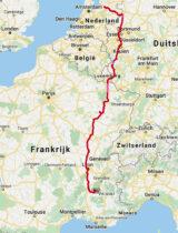 De route, via Gronau naar Die in de Drome.