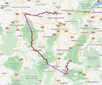 De route vanuit Die tot in de Beaujolais (t/m zondag).
