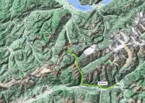 Van Brig in het Rhonedal (rechtsonder) naar Kandersteg aan de andere kant van de Alpen.